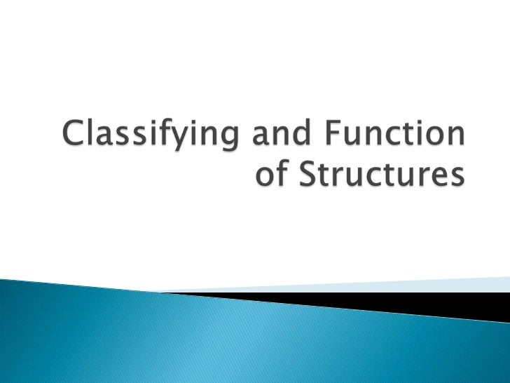 Unit d  -section 1.1-1.2 -- classifying and function of structures