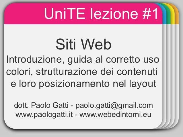 Siti Web: introduzione, guida al corretto uso colori, strutturazione dei contenuti e loro posizionamento nel layout