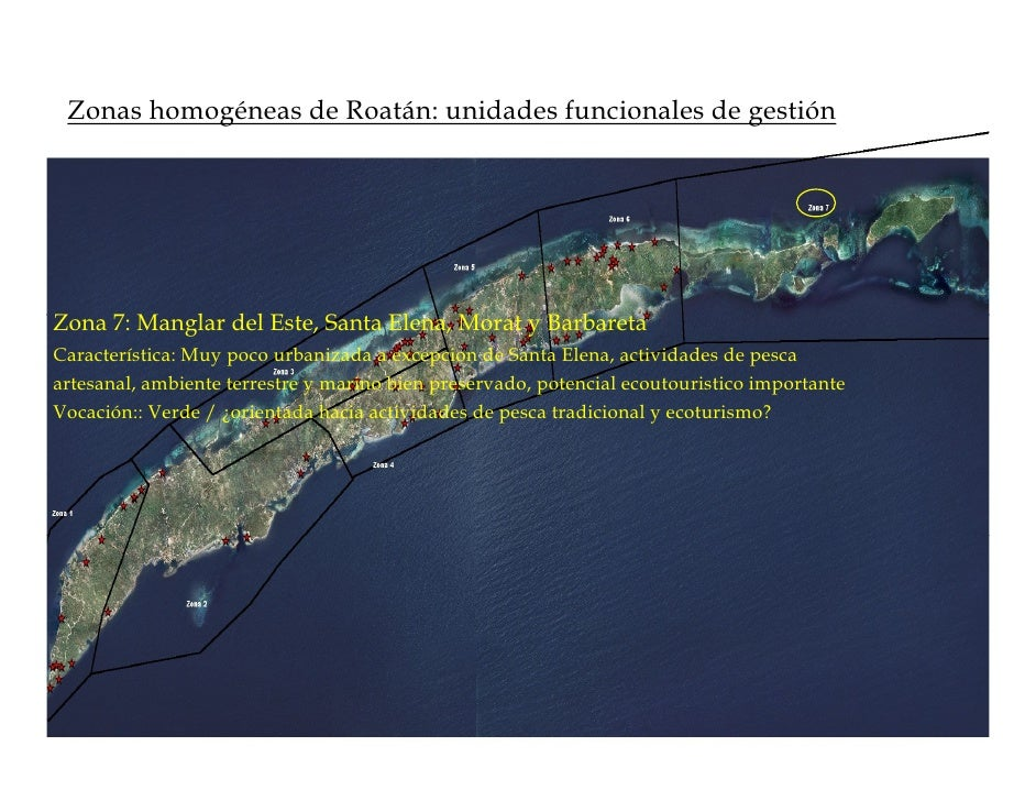 Zonas homogéneas de Roatán: unidades funcionales de gestión     Zona 7: Manglar del Este, Santa Elena, Morat y Barbareta C...