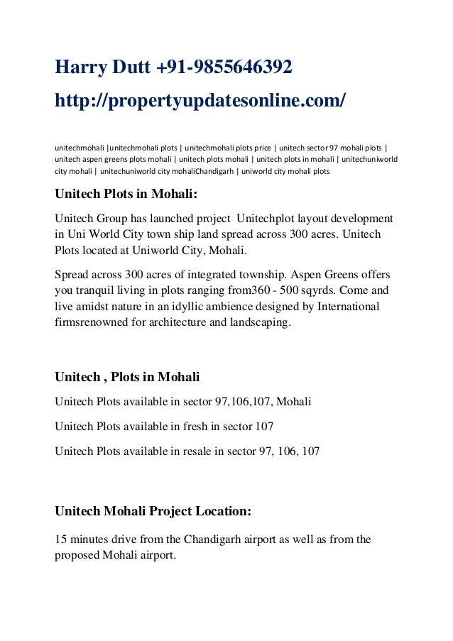 Unitech Mohali Plots | Unitech PLots Mohali | Unitech Apartments Gardens Mohali