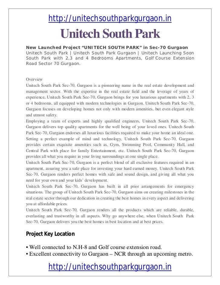Unitech south park sec 70 floor plan