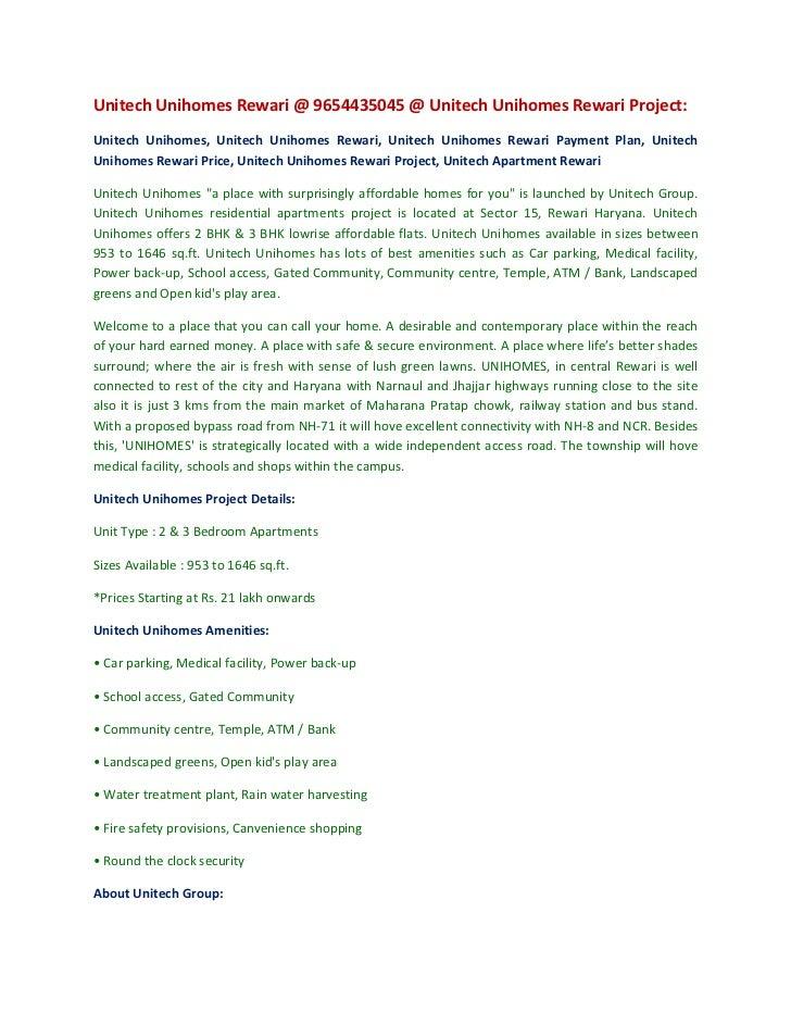 Unitech Unihomes Rewari @ 9654435045 @ Unitech Unihomes Rewari Project:<br />Unitech Unihomes, Unitech Unihomes Rewari, Un...
