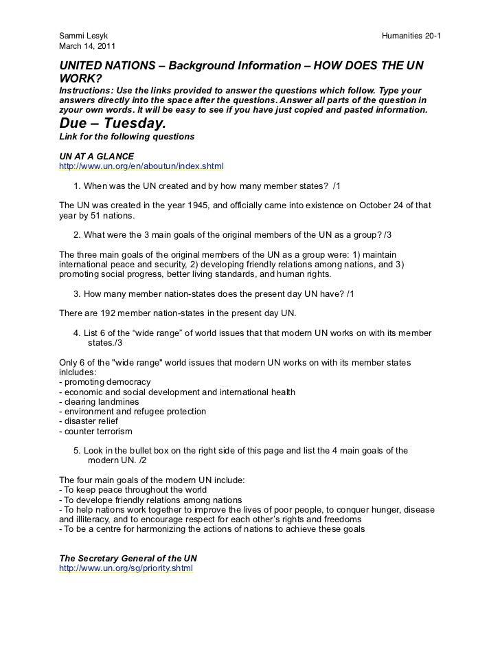 Sammi Lesyk                                                                         Humanities 20-1March 14, 2011UNITED NA...
