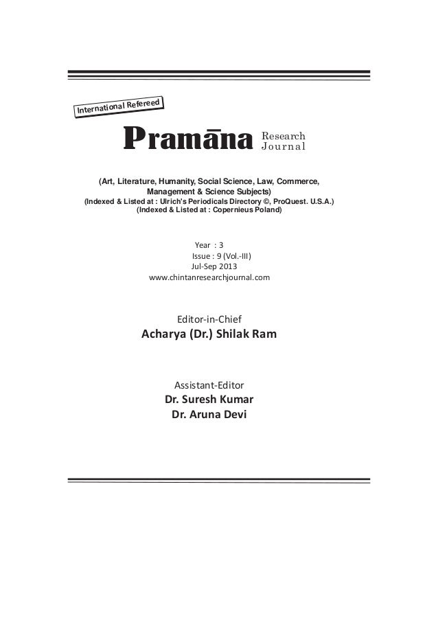 al Refereed Internation  P ramana  Research Journal  (Art, Literature, Humanity, Social Science, Law, Commerce, Management...