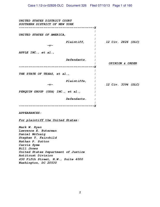 United States of America v. Apple Inc
