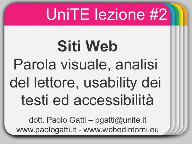 UniTE lezione #2               WINTER                Template        Siti WebParola visuale, analisidel lettore, usability...