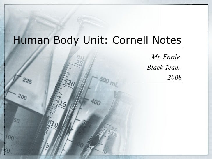 Human Body Unit: Cornell Notes Mr. Forde  Black Team  2008