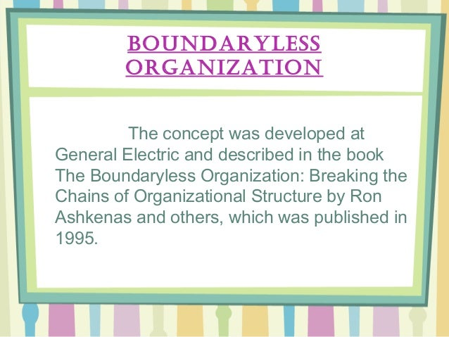 boundaryless organizations in the workplace Emphasized) and across organizations (as the notion of boundaryless careers emphasizes) these workplace changes were accompanied by shifts in the.