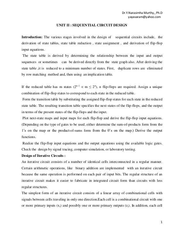 UNIT-II  : SEQUENTIAL CIRCUIT DESIGN