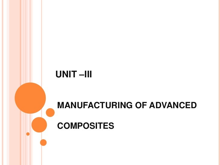 UNIT –IIIMANUFACTURING OF ADVANCEDCOMPOSITES