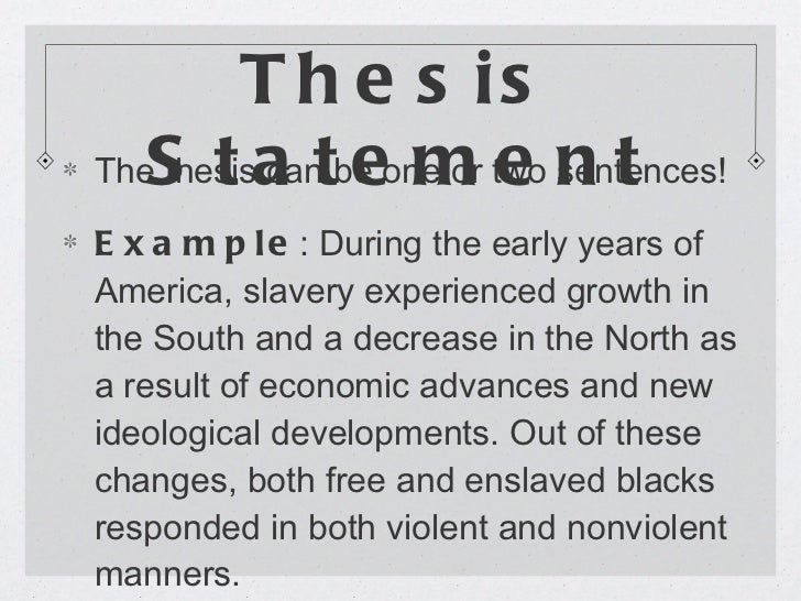 Slavery in america essay thesis statement