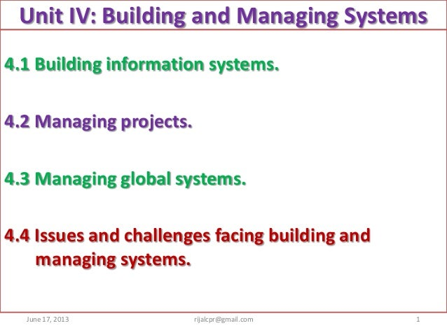 Unit IV: Building and Managing Systems4.1 Building information systems.4.2 Managing projects.4.3 Managing global systems.4...