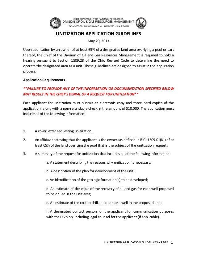 UNITIZATION	  APPLICATION	  GUIDELINES	  •	  PAGE	  	   1	  	  May	  20,	  2013	  Upon	  application	  by	  an	  owner	  ...