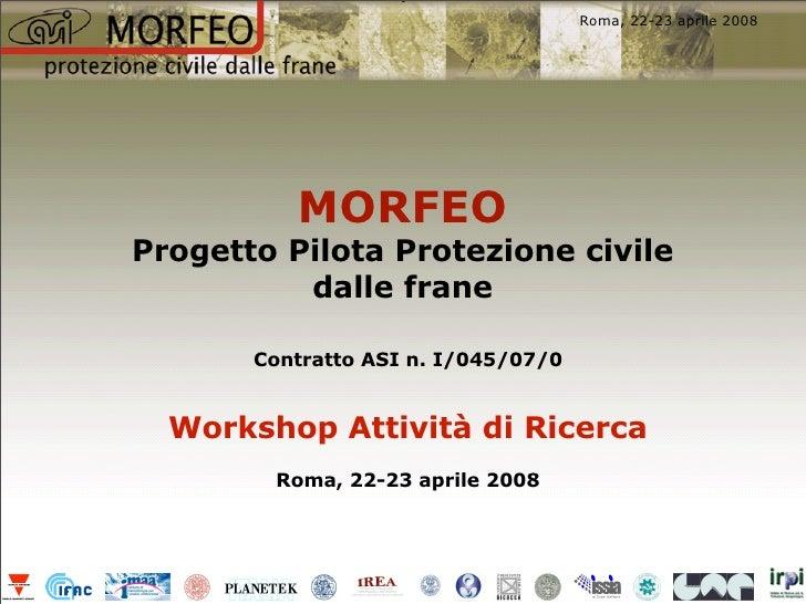 Unitn Workshop scinetifico Morfeo 22 aprile 2008