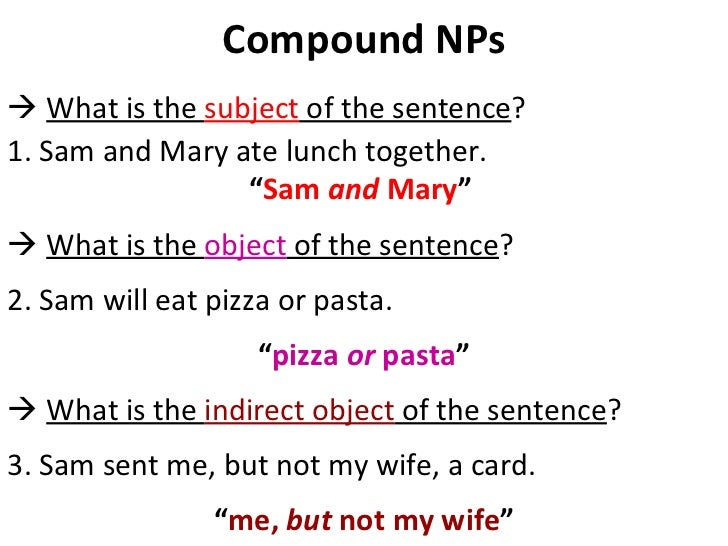 "Compound NPs    What is the  subject  of the sentence ?  1. Sam and Mary ate lunch together.  "" Sam  and  Mary ""      Wh..."