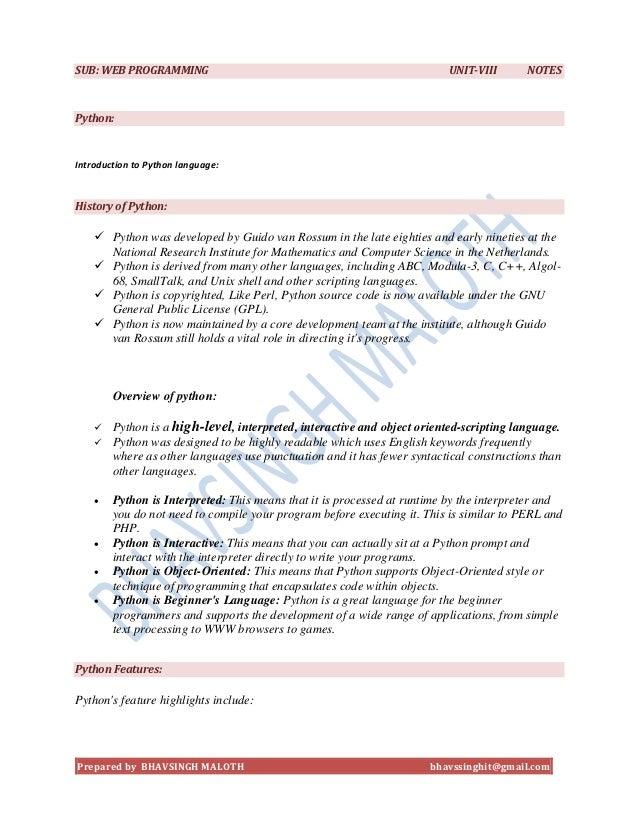 SUB: WEB PROGRAMMING                                                     UNIT-VIII       NOTESPython:Introduction to Pytho...