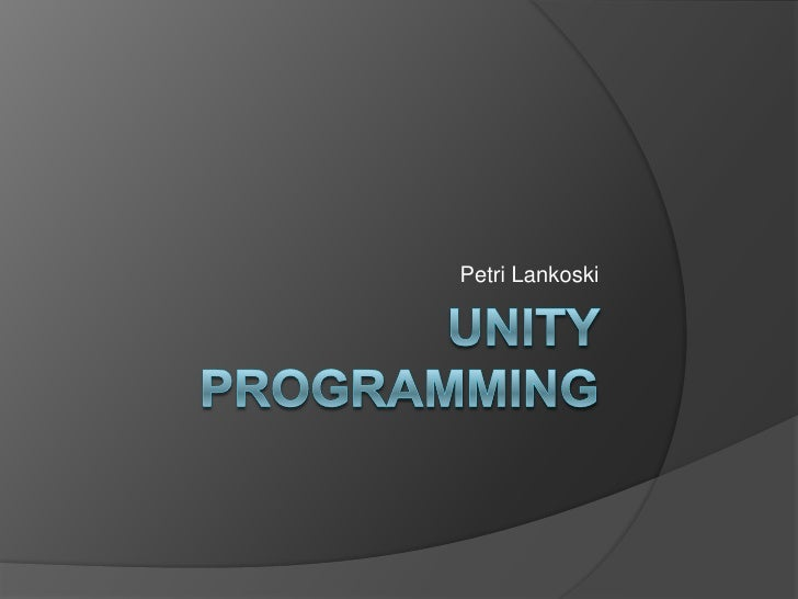 Unity programming 1