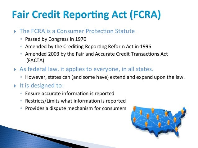 fair credit reporting act and personal The fair credit reporting act also protects defendants in litigation matters and particularly in matters of personal injury, business litigation and.