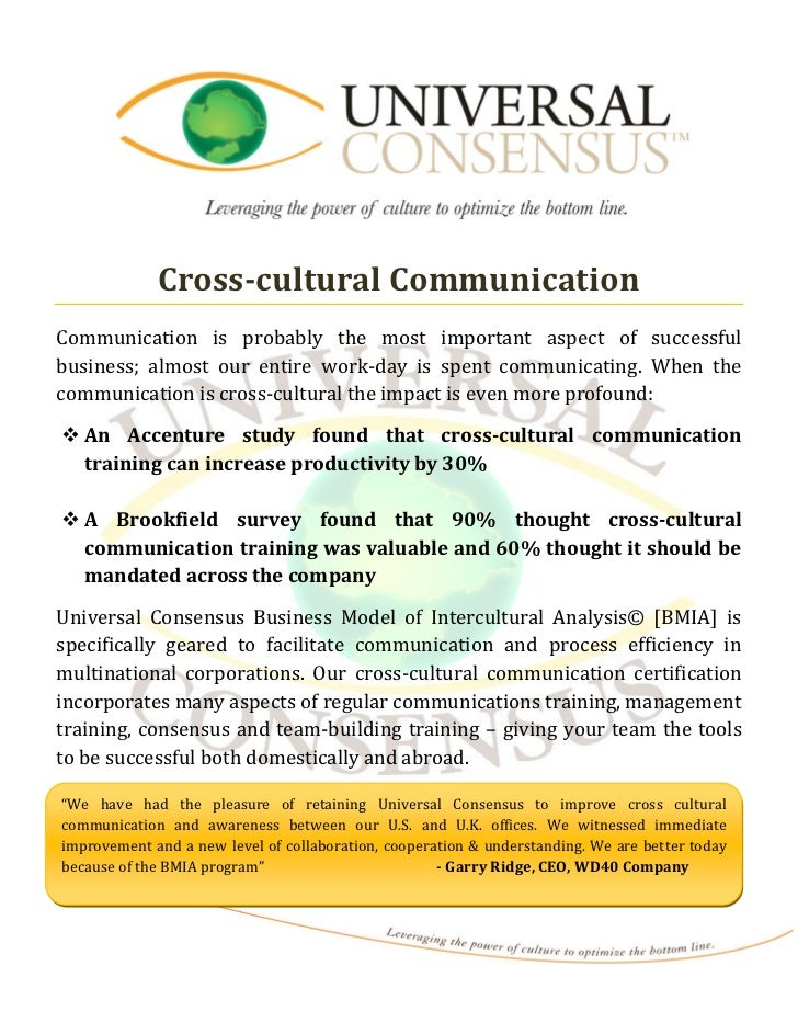 Cross-cultural CommunicationCommunication is probably the most important aspect of successfulbusiness; almost our entire w...