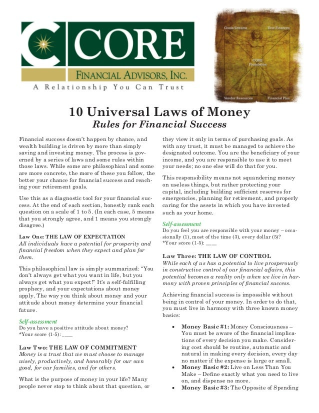 10 Universal Laws of Money - Rules for Financial Success