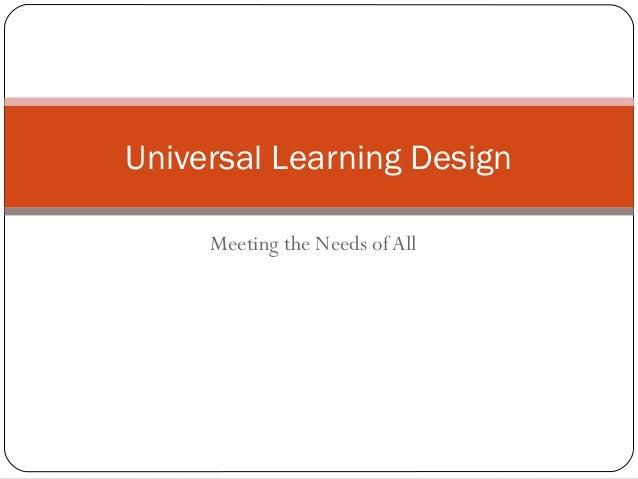 Universal learning design