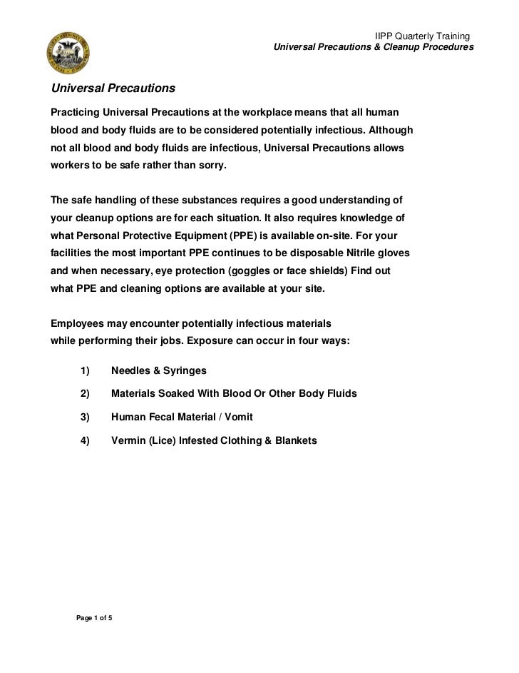 IIPP Quarterly Training                                               Universal Precautions & Cleanup ProceduresUniversal ...
