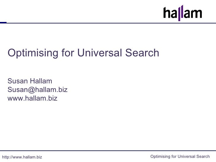 Universal Search Optimisation