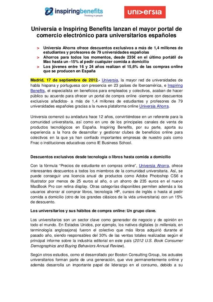 Universia e inspiring benefits lanzan el mayor portal de comercio electrónico para universitarios españoles sept 2012