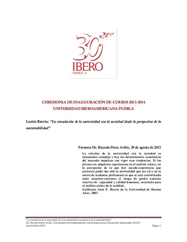 Universidad - Sustentabilidad - Lectio brevis UIA Puebla, 2013