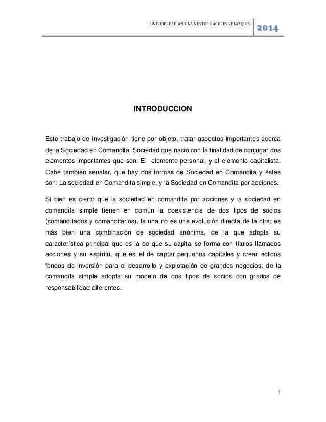 UNIVERSIDAD ANDINA NESTOR CACERES VELAZQUES 2014 1 INTRODUCCION Este trabajo de investigación tiene por objeto, tratar asp...