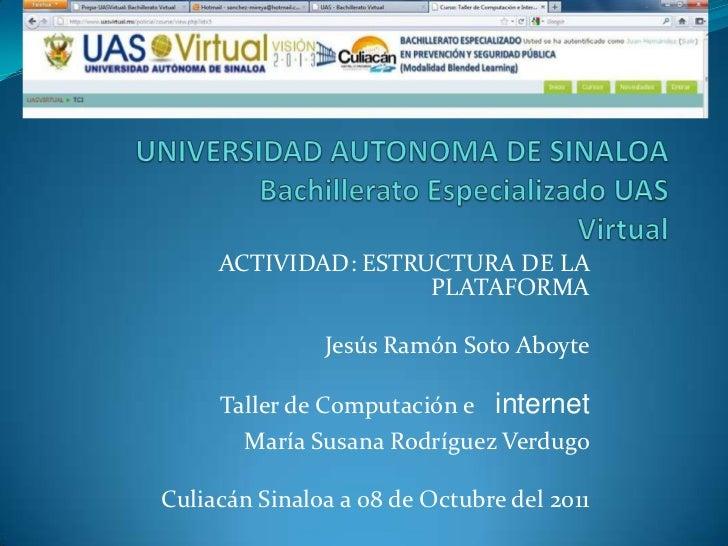 ACTIVIDAD: ESTRUCTURA DE LA                     PLATAFORMA               Jesús Ramón Soto Aboyte     Taller de Computación...