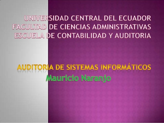 Universidad central del ecuador Auditoria