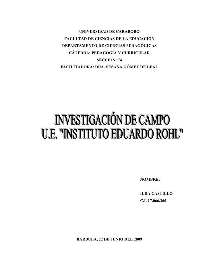 UNIVERSIDAD DE CARABOBO  FACULTAD DE CIENCIAS DE LA EDUCACIÓN DEPARTAMENTO DE CIENCIAS PEDAGÓGICAS    CÁTEDRA: PEDAGOGÍA Y...