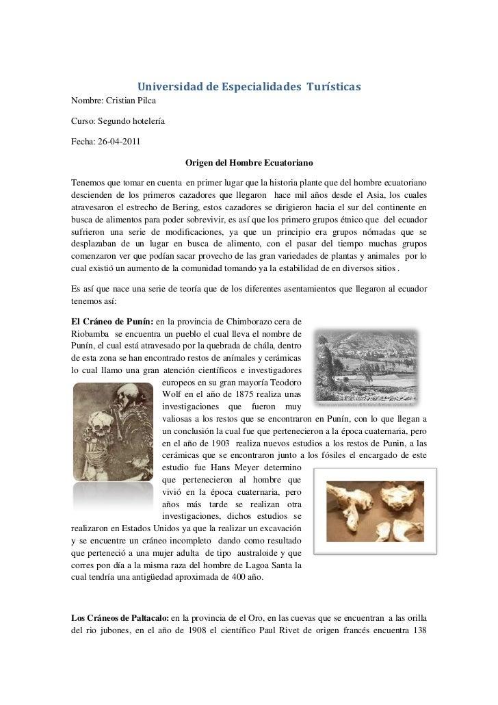 Universidad de Especialidades TurísticasNombre: Cristian PilcaCurso: Segundo hoteleríaFecha: 26-04-2011                   ...