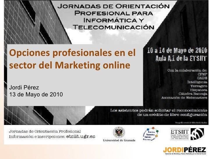 Opciones profesionales en el sector del Marketing online Jordi Pérez 13 de Mayo de 2010