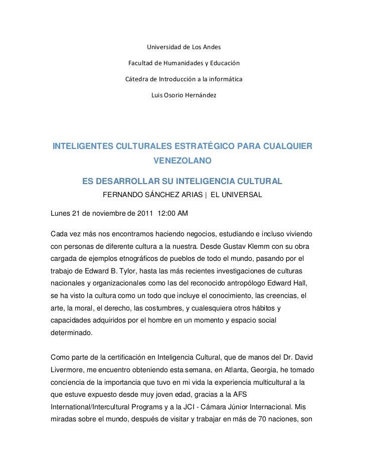 Universidad de Los Andes                        Facultad de Humanidades y Educación                        Cátedra de Intr...