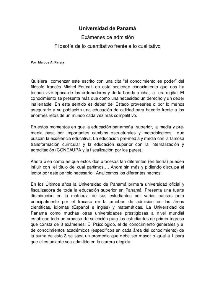 Universidad de Panamá                           Exámenes de admisión              Filosofía de lo cuantitativo frente a lo...