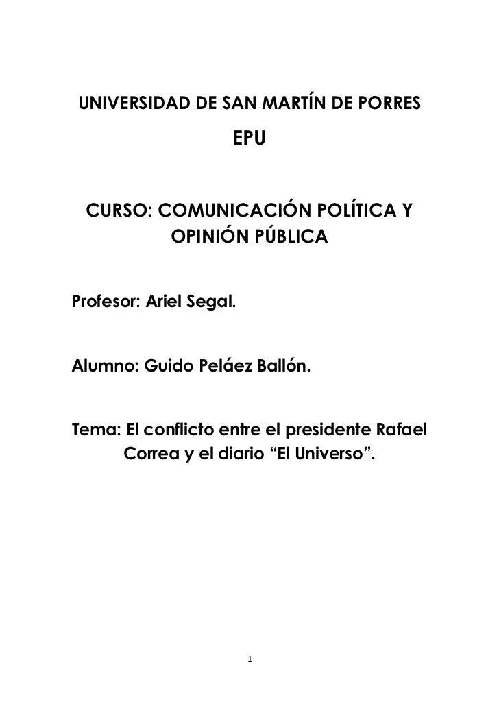 UNIVERSIDAD DE SAN MARTÍN DE PORRES                     EPU CURSO: COMUNICACIÓN POLÍTICA Y         OPINIÓN PÚBLICAProfesor...