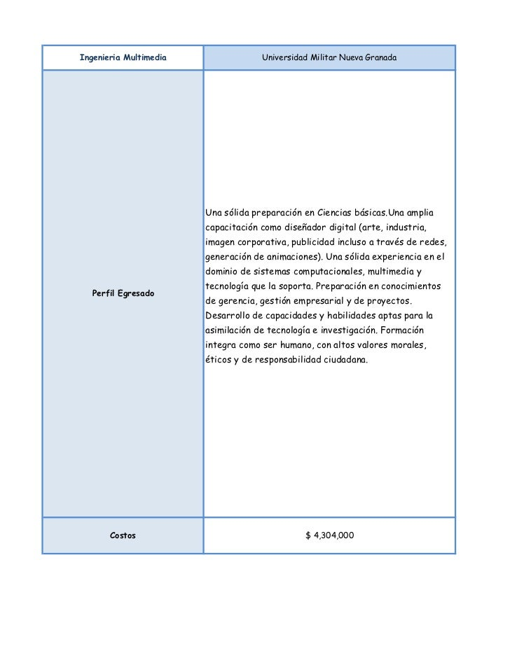 Ingenieria Multimedia                Universidad Militar Nueva Granada                        Una sólida preparación en Ci...
