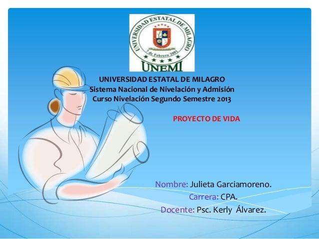 UNIVERSIDAD ESTATAL DE MILAGRO Sistema Nacional de Nivelación y Admisión Curso Nivelación Segundo Semestre 2013 Nombre: Ju...