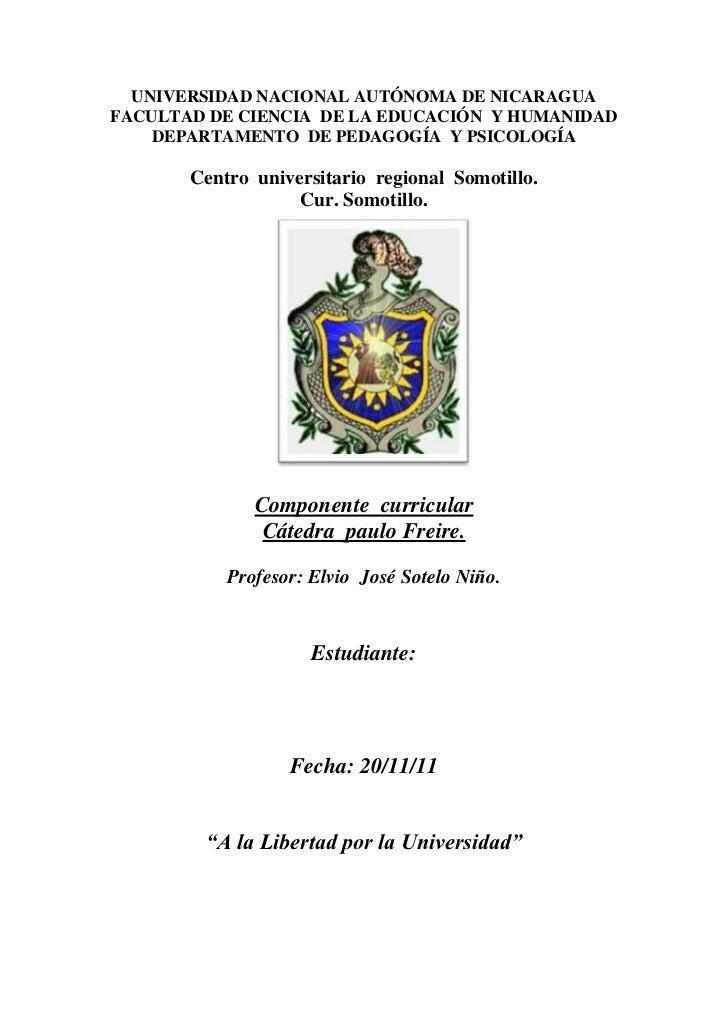 UNIVERSIDAD NACIONAL AUTÓNOMA DE NICARAGUAFACULTAD DE CIENCIA DE LA EDUCACIÓN Y HUMANIDAD    DEPARTAMENTO DE PEDAGOGÍA Y P...