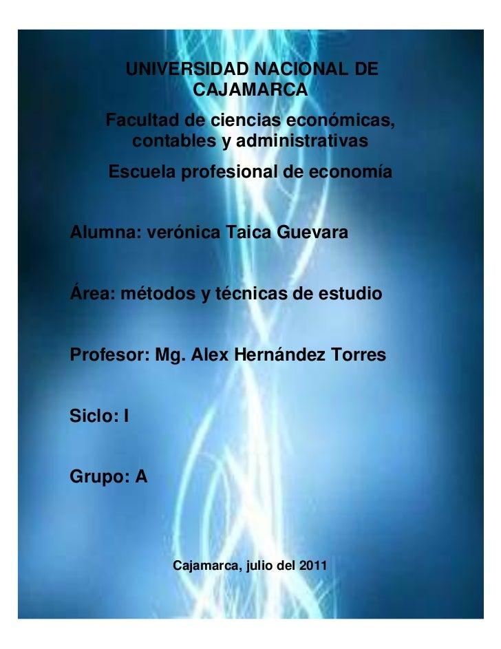 centercenter UNIVERSIDAD NACIONAL DE CAJAMARCA<br />Facultad de ciencias económicas, contables y administrativas<br />Escu...