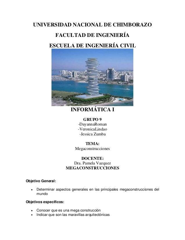 UNIVERSIDAD NACIONAL DE CHIMBORAZO FACULTAD DE INGENIERÍA ESCUELA DE INGENIERÍA CIVIL  INFORMÁTICA I GRUPO 9 -DayannaRoman...