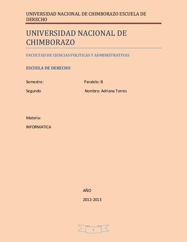 UNIVERSIDAD NACIONAL DE CHIMBORAZO ESCUELA DE DERECHO 1 UNIVERSIDAD NACIONAL DE CHIMBORAZO FACULTAD DE CIENCIAS POLITICAS ...