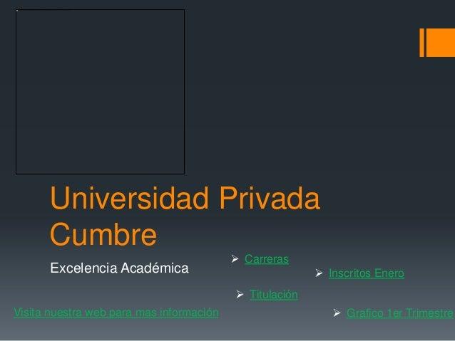 Universidad Privada Cumbre Excelencia Académica  Carreras  Titulación  Inscritos Enero  Grafico 1er TrimestreVisita nu...