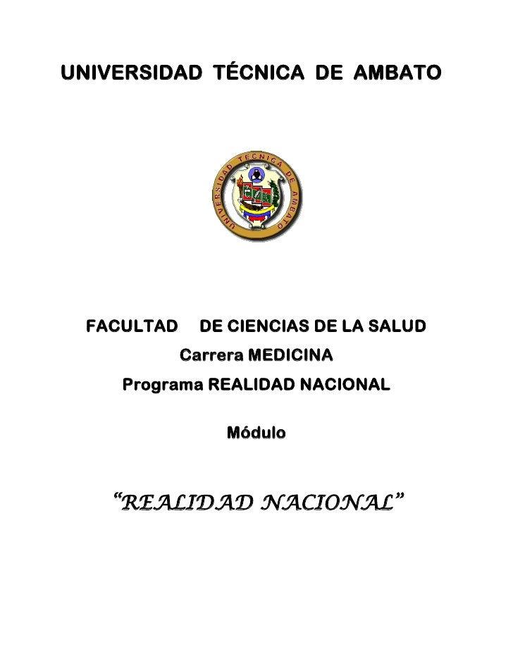 UNIVERSIDAD TÉCNICA DE AMBATO FACULTAD     DE CIENCIAS DE LA SALUD            Carrera MEDICINA    Programa REALIDAD NACION...