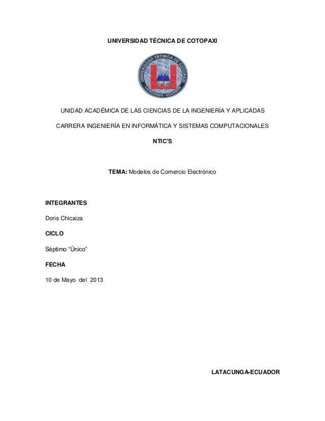 UNIVERSIDAD TÉCNICA DE COTOPAXIUNIDAD ACADÉMICA DE LAS CIENCIAS DE LA INGENIERÍA Y APLICADASCARRERA INGENIERÍA EN INFORMÁT...
