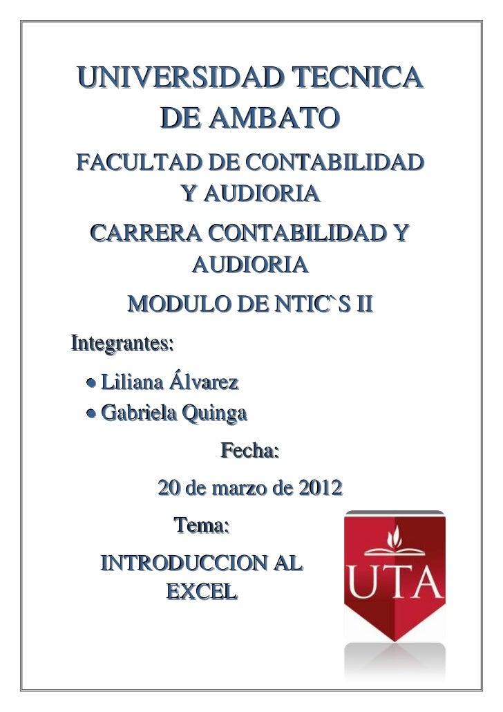 UNIVERSIDAD TECNICA    DE AMBATOFACULTAD DE CONTABILIDAD       Y AUDIORIA  CARRERA CONTABILIDAD Y        AUDIORIA      MOD...