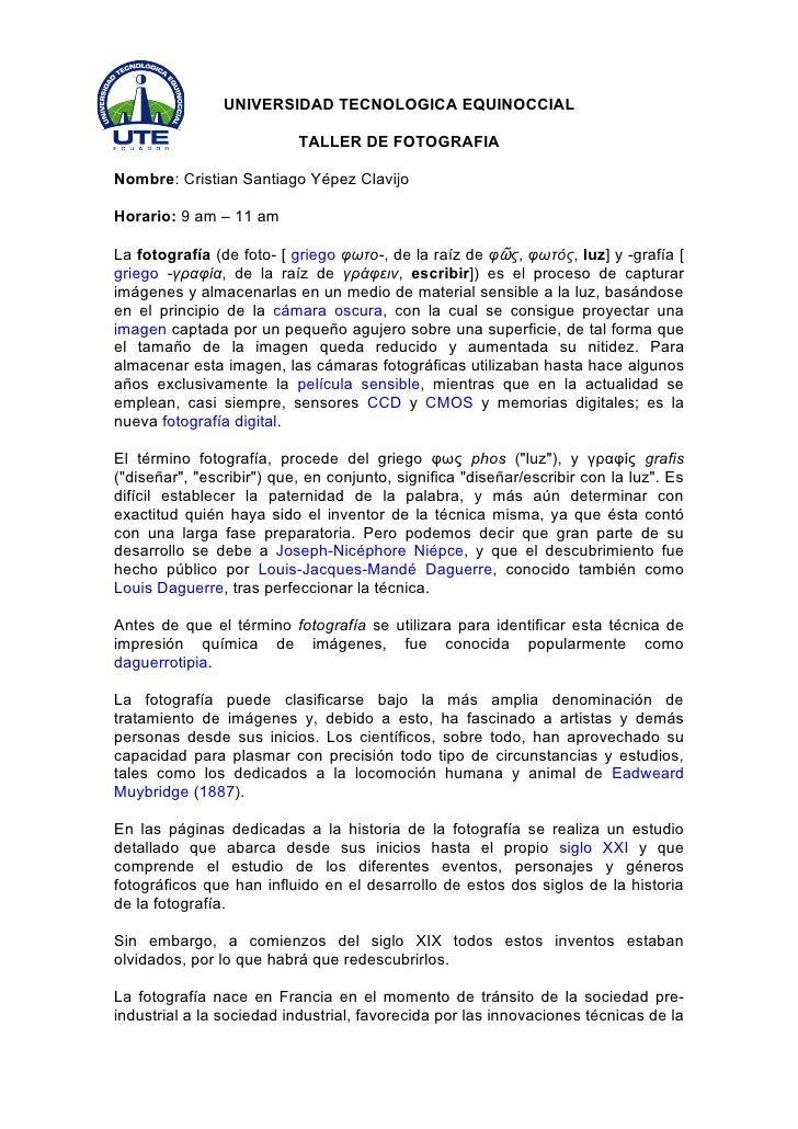 UNIVERSIDAD TECNOLOGICA EQUINOCCIAL                             TALLER DE FOTOGRAFIA  Nombre: Cristian Santiago Yépez Clav...