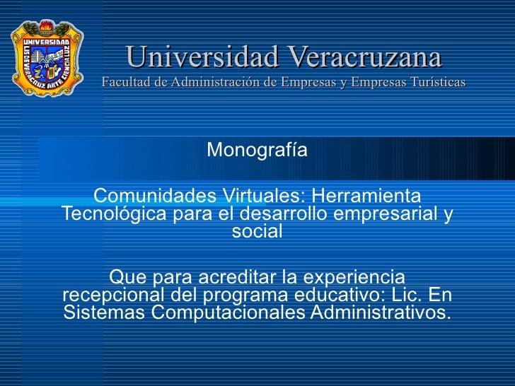 Universidad Veracruzana MonografíA